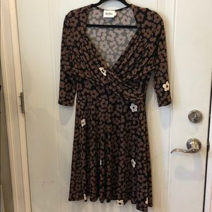 Leota Adorable Brown and Black Sweetheart Dress